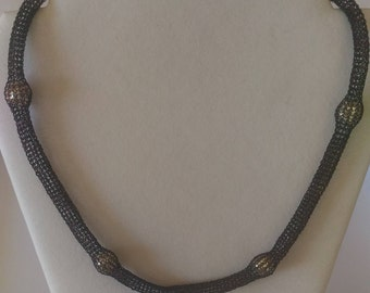 Handmade copper wire crochet necklace