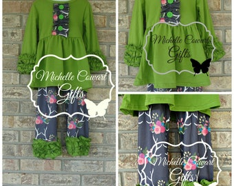 Deer Antlers Outfit, Girls Outfit, Toddler Outfit, 4T, 6/7, Gift, Matilda Jane, Winter, Spring, RTS, Hunting, Camo, Green, Floral