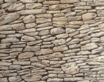 Stone Wall Landscape Fabric, Moda 15637 18 Modascapes Stone Wall Grey, Stone Wall Fabric, Stone Fabric, Cotton Rock Wall Fabric