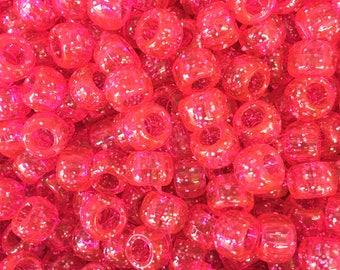 Pink Glitter Sparkle 9x6mm Pony Beads Dummy Clips, Pram Charms