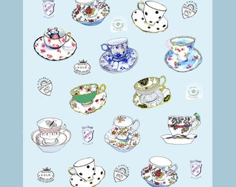 Vintage Tea Cup Drawings on a kitchen TEA TOWEL, Collectible!