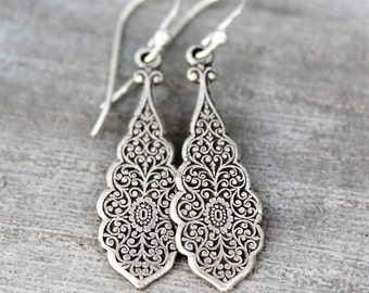 Dangling Silver Earrings, Sterling Silver, Art Nouveau Style Earrings, Teardrop Earrings, Silver drop Earrings, Lever Back Ear Wire, Long