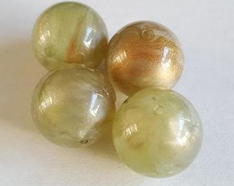 18mm Vintage Soft Pearlized Light Olive Green Gold white hint swirl Acrylic round beads 6pcs