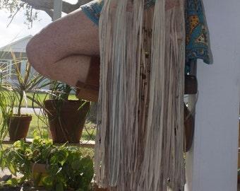boho crossbody upcycle fringe leather ooak hippie