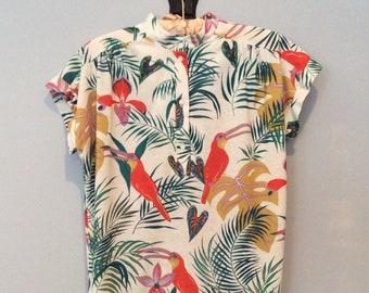 1980s Tropical Print Top
