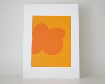 minimalist orange abstract, hard edged screenprint, modern original art by Emma Lawrenson