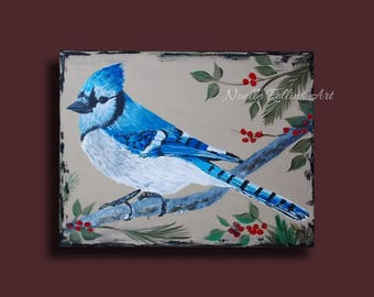Blue Jay original artwork featuring berries leaves and branches meaning of seeing blue jay bird watcher nature