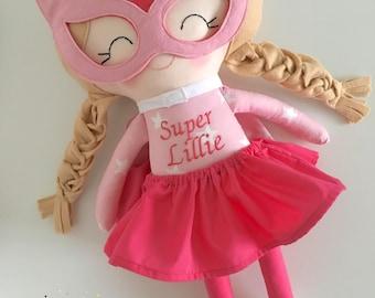 Pink Superhero - Superhero Girl - Superhero Doll - Handmade doll - Dress up Doll - Girls Doll - Girls Gift