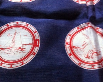 Sale Vintage Red, White & Blue Nautical Scarf Sailboat Stripes