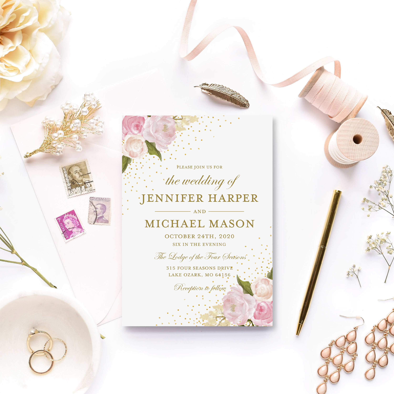 Wedding Invitation Template Floral Wedding Invitation DIY