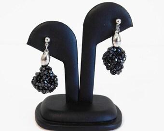 Vintage Signed Crown Trifari Black Beaded Dangle Clip On Earrings - Vintage Crown Trifari Jewelry, Vintage Jewelry, Dangle Earrings