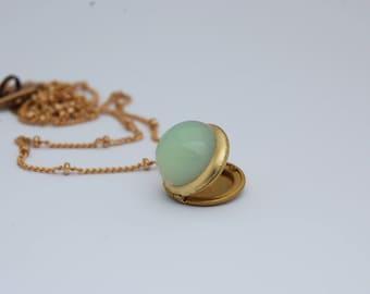 Yellow Opal Vintage Locket Glass Cabochon Lockets Mini Lockets Opals Vintage Jewelry Layering Necklaces Custom Personalize Photo Wedding