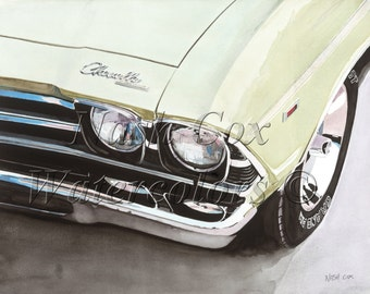 1969 Chevelle Giclee Print of Original Watercolor