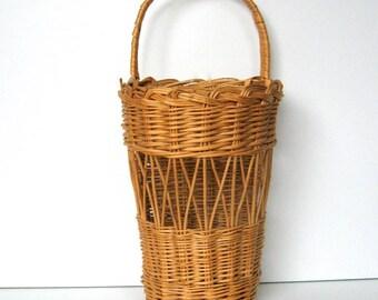 Vintage Woven Hanging Basket - Wicker basket, Twig basket, Tall basket, Beige, Rustic, Cottage, Cabin, Lodge, Farmhouse, Shabby Chic