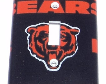 Chicago Bears Print Single Toggle Light Switch Plate Cover