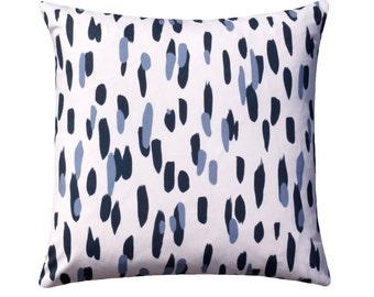 Robert Allen Mill Reef Indigo Pillow Cover, Indigo Blue Dotted Throw Pillow, Blue and White Zippered Toss Pillow, Eurosham Pillow Cover,