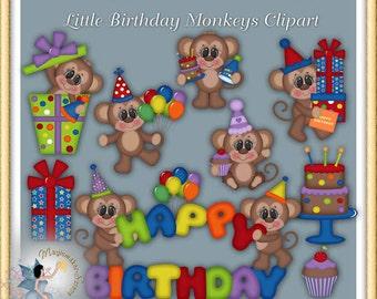 Birthday Party Monkeys Clipart