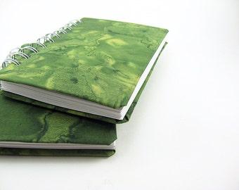 Blank Notebook 4 x 6 Spiral Bound Notebook, Sketchbook, Green Batik Fabric, Abstract, Journal Diary, Prayer Journal, Writing, Art Journal