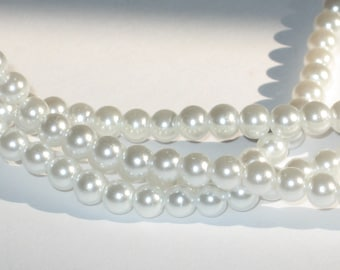 100 Pearl Coat Glass Beads 4mm Snow White