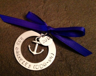 Hand stamped personalized christmas ornament family military navy army marines coast guard Air Force deployment