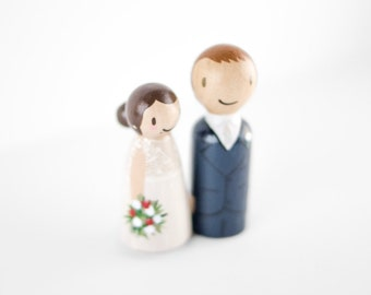 Personalized Bride and Groom Cake Topper, peg doll wedding cake topper wedding people cake topper custom cake topper, mr and mrs cake topper