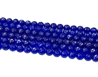 1Full Strand Dark Blue Jade Faceted Beads,8mm 10mm Jade Gemstone For Jewelry Making