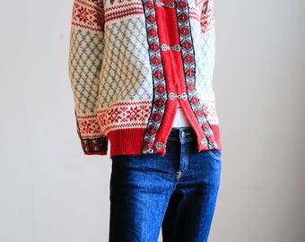 Dale of Norway Sweater   Red Nordic Sweater   Collectible Nordic Sweater  Nordic Wool Sweater   Scandinavian   Ski Lodge Sweater   Cardigan