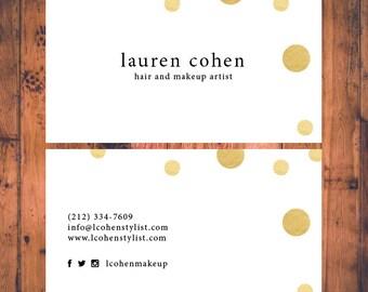 Premade Business Card Confetti Faux Gold Modern Calling Cards Small Business Card Business Card Design Template Digital Printable BC007