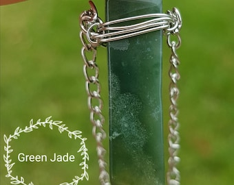 Green Jade Wire Wrapped Crystal Necklace.