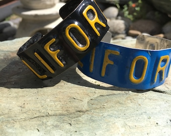 Unique License Plate cuff bracelet from California License plate. Up-cycled plates used. Good for everyone