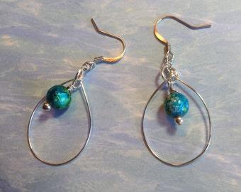 Blue and green glass beaded hoop earrings