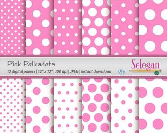 "polka dot scrapbook "" Pink Polkadots "" digital scrapbook paper polka dot printable pages pink background"