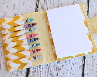 Chevron Crayon Wallet - Crayon Roll - Crayon Organizer - Crayon Case - Travel Toy - Birthday Party Favor - Child Activity Kit - Art Wallet