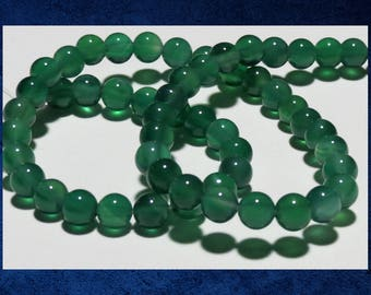 """Chalcedony, Green - 15"""" strand of round 6mm ball beads. Approx 65 gemstone beads. #CHAL-051"""