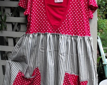 Stars and Stripes Tunic-Dress/ 4th Of July Hoodie/ Red Knit-Blue Ticking Tunic/ Holiday Funwear/ July 4h Clothing/ Sheerfab Handmade