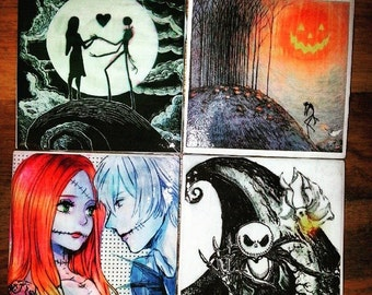 Nightmare Before Christmas Set of 4 Coasters Jack and Sally Zero Somewhere Out There