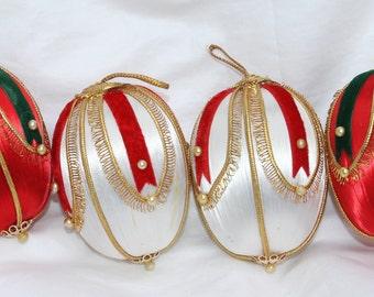 Vintage Christmas Satin Beaded Ornaments