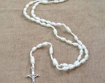 White Regular Rope Rosary with Metal Cross