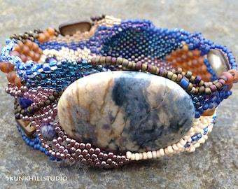 Winter Blues Freeform Peyote Bracelet PDF Tutorial