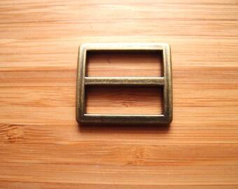 One inch (25mm) Tri-Glide Slider Strap Adjuster in Silver Nickel / Antique Brass Bag and Strap Hardware