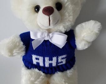 BULK 12 Custom School Spirit Teddy Bears in your choice of colors, High School Fundraiser, 10inch Plush Cream Bear, School Keepsake