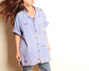 SOUTHWEST 90s bright SLOUCHY ikat style blue pattern short sleeve women's shirt