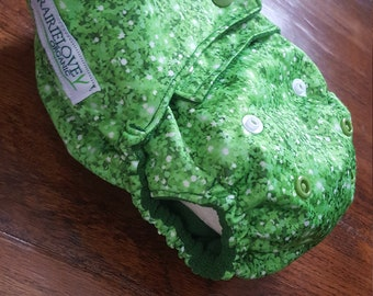 Green Glitter AI2 OS Snap Closure Diaper