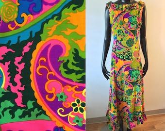 Vintage Hawaiian Ja-Na of Hawaii Mod Psychedelic Multicolor Ruffle Maxi Dress