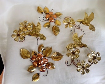 Hummingbirds and flowers all decor copper and brass Set of 5 Wall Hangings Home Interior