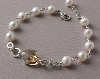 White Pearl Bracelet and Earring set with Golden Swarovski Crystal in Sterling Silver