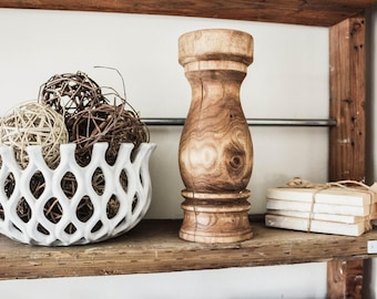 Large Wood Candlestick From A Tree Named Gary