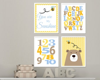 You are my sunshine wall art Baby Room wall art Nursery wall prints Alphabet, Numbers, Bear and Bumble Bee wall art - Set of 4 prints  H185