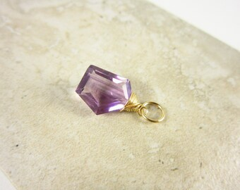 Genuine Amethyst Pendant - 14k Gold Pendant - Natural Gemstone Pendant - Purple Stone Pendant - February Birthstone Pendant