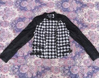 Womens GUESS USA Polka Dot Zip Up Biker Jacket Motorcycle Rocky Sweater Asap